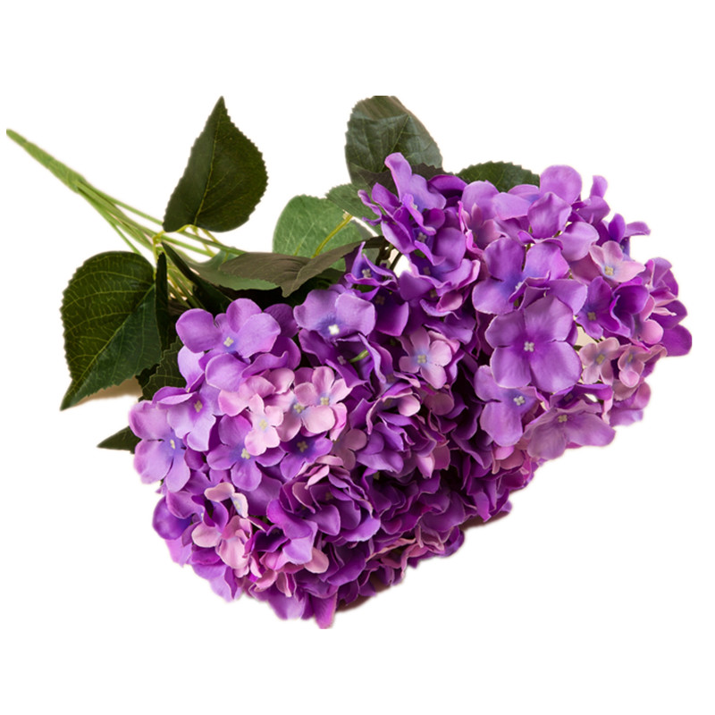 6 heads bunch purple hydrangea display flower artificial flower wedding party hotel decoration event silk flower free shipping - Violet Hotel Decor