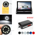 2017 Car Parking Sensors Speaker Connect Night vision 8 LEDs Lights Auto Rear view Camera Distance on 4.3 Inch Foldable Monitor