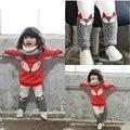 2017 de Inverno das Crianças Set Para Meninas Bonitos Grosso Velvet Longo-luva Padrão Raposa Camisola Calças Terno Dos Desenhos Animados Infantil roupas 4252