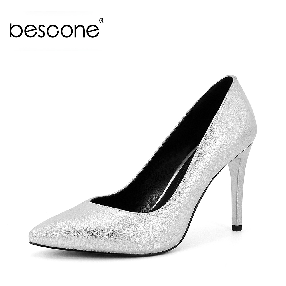 BESCONE Silver Shoes 2019 New Sexy Thin high heels Womens Pumps Elegant Office Pointed Toe  Genuine Leather Sheepskin Shoes A71BESCONE Silver Shoes 2019 New Sexy Thin high heels Womens Pumps Elegant Office Pointed Toe  Genuine Leather Sheepskin Shoes A71