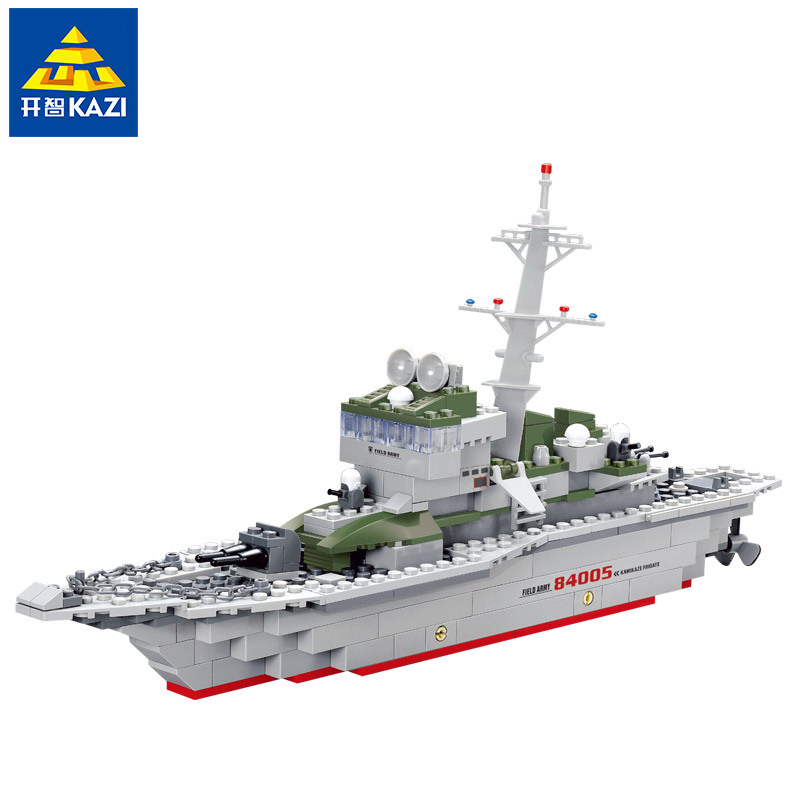 KAZI 84005 Cruiser Army Military Frigate Building Blocks War LegoINGlys Military Navy Vessel Boat Bricks Toy For Kids Gift sluban 883pcs military series army navy warship model building blocks cruiser plane carrier bricks gift toys for children