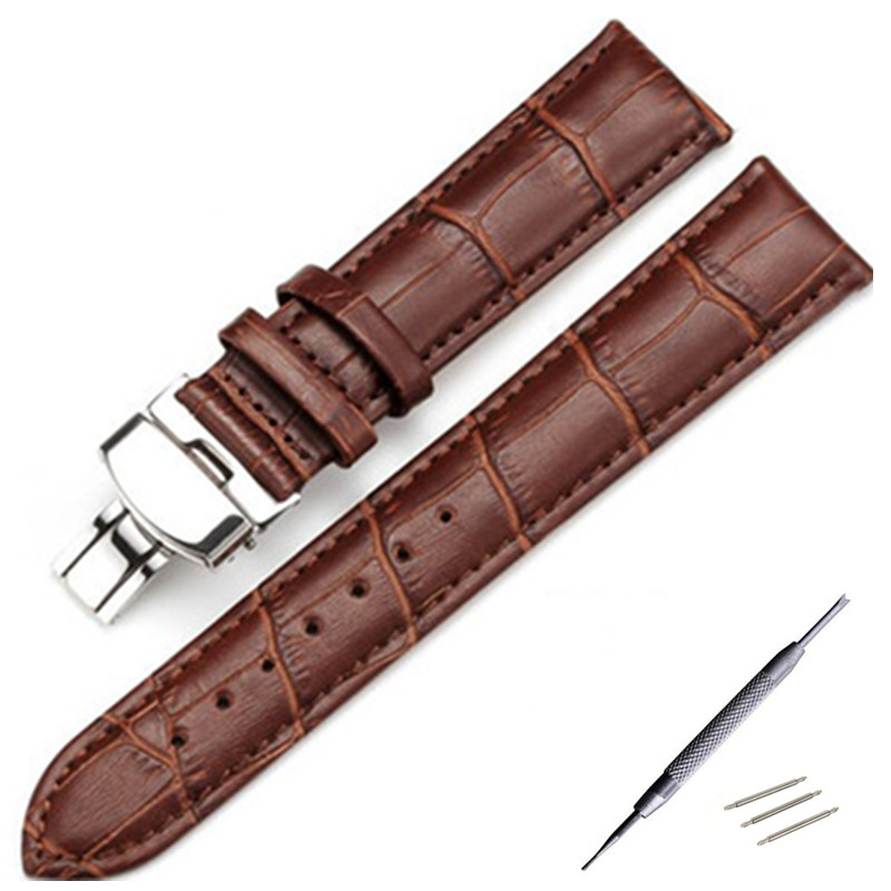 <font><b>19mm</b></font> 20mm 21mm <font><b>PRC200</b></font> T17 T41 T461 High Quality Silver Butterfly Buckle + Brown / Black Genuine Leather Watch Bands Strap image