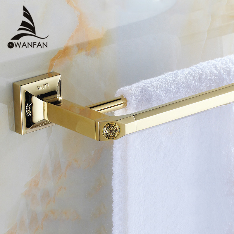 Towel Bars Luxury Wall Mounted Carving Golden Brass Square Bathroom Towel Rack Holder Double Towel Bar Home Decoration 82311 okaros bathroom double towel bar 60cm towel rack towel holder solid brass golden chrome plating bathroom accessories