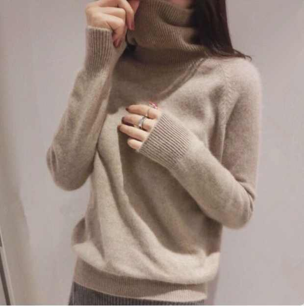 New Cashmere Blended Knitted Sweater Women Tops Turtleneck Autumn Winter Female Pullover Loose Casual Warm Sweater