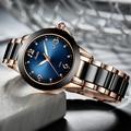 SUNKTA Mode Damen Uhren Frauen Top Marke Luxus Keramik Strass Sport Quarzuhr Frauen Blau Wasserdicht Armband Uhr