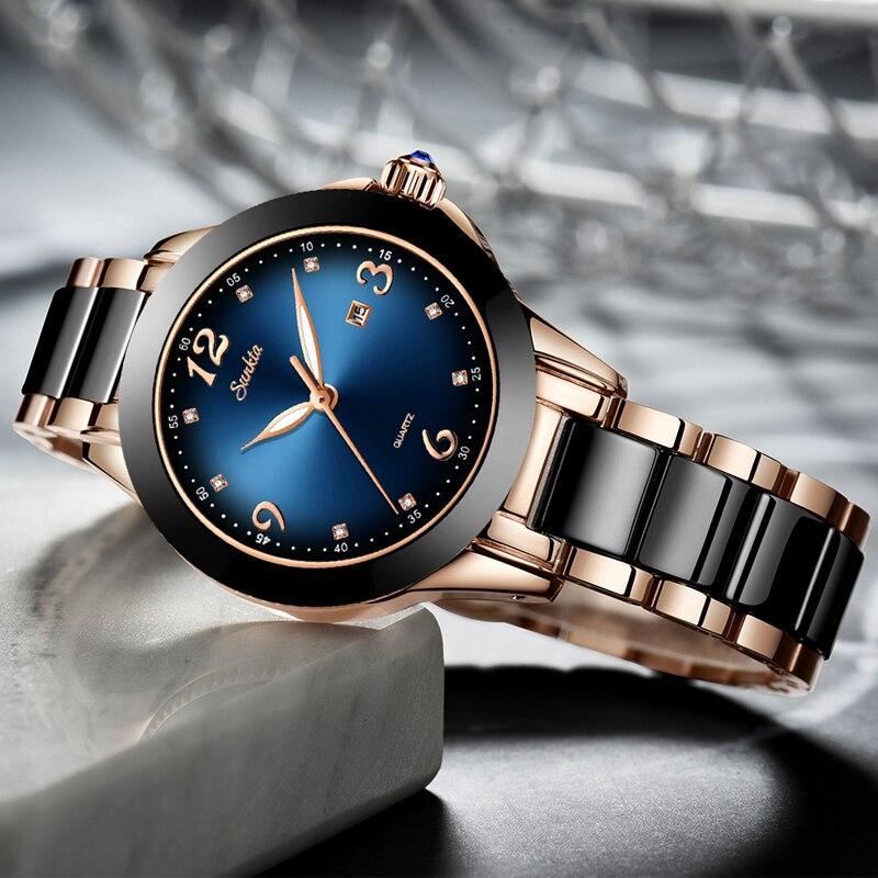 Sunkta moda senhoras relógios feminina marca superior luxo cerâmica strass esporte relógio de quartzo feminino azul à prova dwaterproof água pulseira relógio