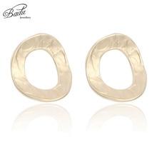 Badu Big Geometric Stud Earring Golden Concave Round Circle Earrings Punk Korean Style Women Fashion Jewelry 2018 Wholesale armajuice сок гранатовый 0 33 л