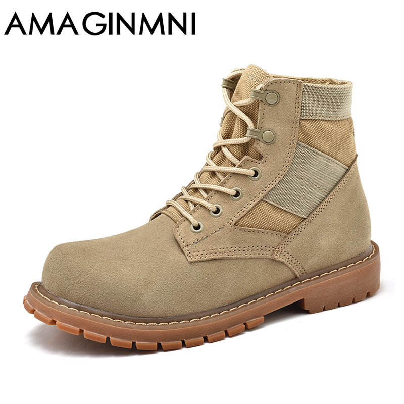 AMAGINMNI Desert Tactical Military Boots Combat Boots Men Shoes Work Outdoor Climbing Men SWAT Army Boot zapatos Genuine Leather swat military style cargo jeans men casual motorcycle denim biker jeans stretch multi pockets tactical combat army jean