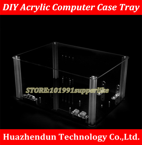 DEBROGLIE 1PCS  DIY Transparent acrylic Personal computer chassis Rack  Water cooling case for  M-ATX  ATX  E-ATX  Mainboard