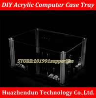 free DHL EMS 1PCS DIY Transparent acrylic Personal computer chassis Rack Water cooling case for M ATX ATX E ATX Mainboard