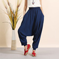 2016 New Fashion Women Linen Haren All-Match Loose Pantalon Palazzo Pants Drop Crotch Pants Hip Hop Pants Candy Colored