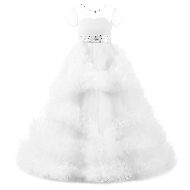 Винтажные Свадебные платья подружки невесты для детей; бальное платье-пачка с оборками и бусинами; платье принцессы; Элегантное Длинное Платье для первого причастия для девочек