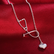 SMTCAT Stethoscope and Heart Pendant Necklace Nurse Doctor Medical Students Graduation Gift Men Women Unisex Silver 925 Jewelry