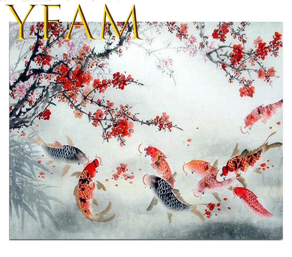 Chinese Lucky Koi Plum Red Flower Painting By Numbers Acrylic DIY Hand Paint Drawing Modern Home Decorative Wall Picture Artwork