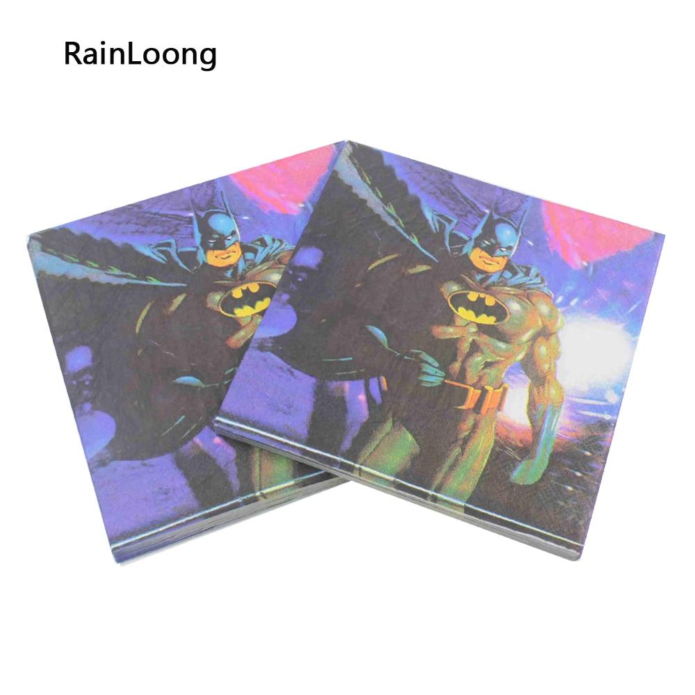 [Rainloong] batman película personaje de tejido servilleta de papel para niños f