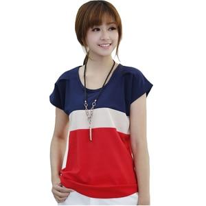 Women Shirts Fashion T-Shirts Ladies Shirts Spell Color Stripe Lady Short Sleeve Plus Loose Size S-XXXL Tops T Shirts