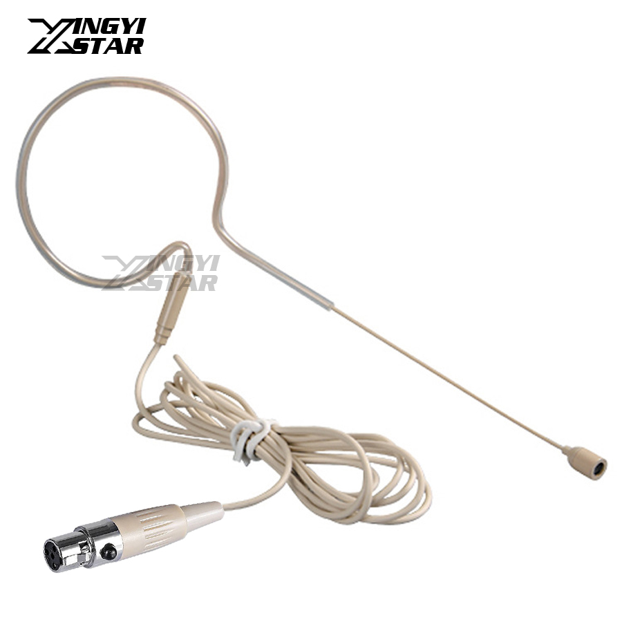Skin Color Mini XLR 4 Pin TA4F Wired Single Earhook Condenser Headset Microphone For Shure Wireless System BodyPack Transmitter