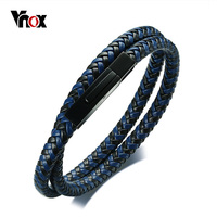 Vnox Top Quality Double Layer Braided Genuine Leather Bracelet For Men Women Stainless Steel Closure Casual
