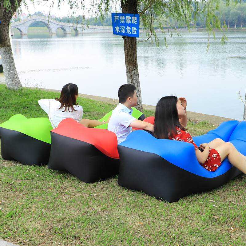 Fast Folding Beach Chair Camping Lazy Bag Inflatable Air Sofa Laybag Sleeping Bag Adult Beds Air Lounge Chair Nylon Air Sofa Bed