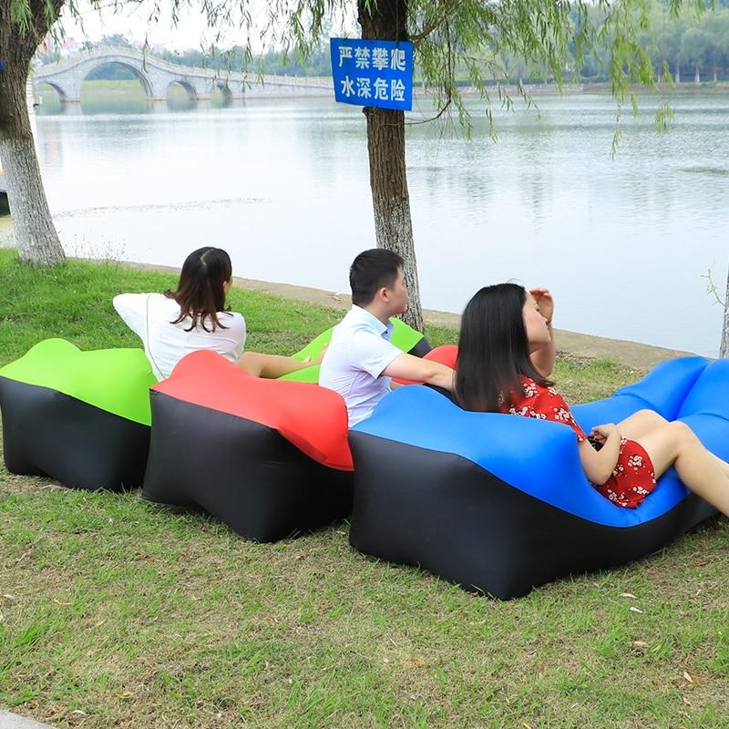 Fast Folding Beach Chair Camping lazy bag inflatable air sofa laybag sleeping bag adult beds air lounge chair nylon air sofa bed