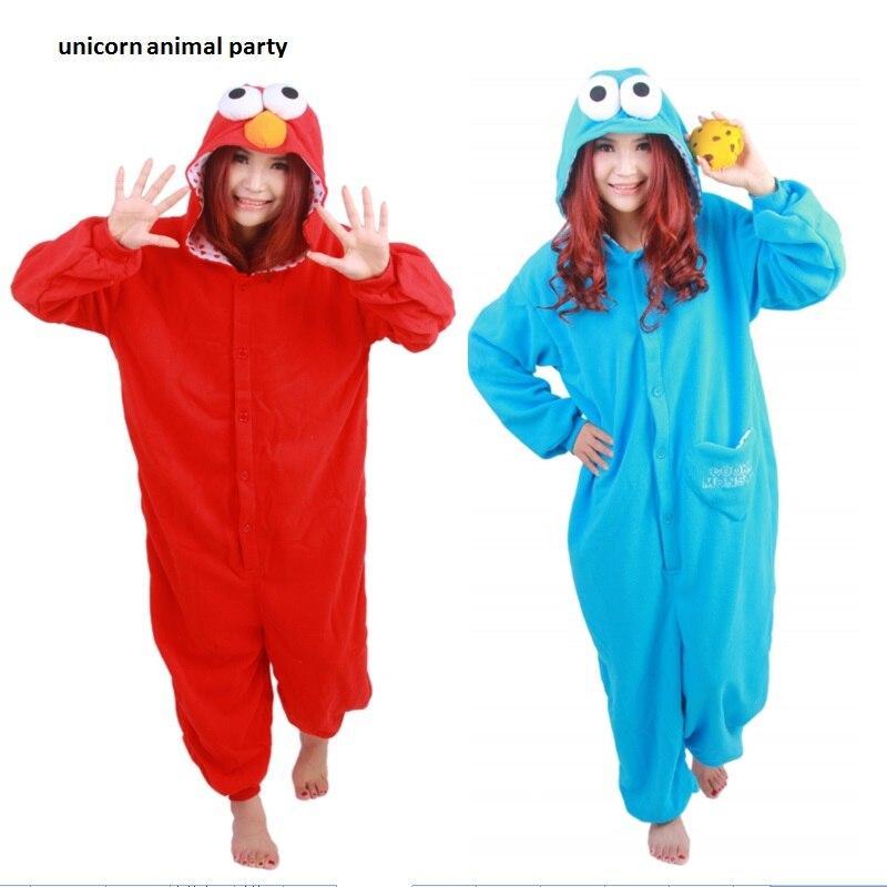 Kigurumi Blue Red Sesame Street Adult Onesie Pajamas Sleepwear Anime Cosplay Costume Unisex Cartoon Sleepsuit Halloween