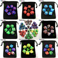 Promotion Top Quality 7pcs 2-color Dice Set with Nebula effect poker d&d d4,d6,d8,d10,d%,d12,d20 Polyhedral Dice, rpg game dice