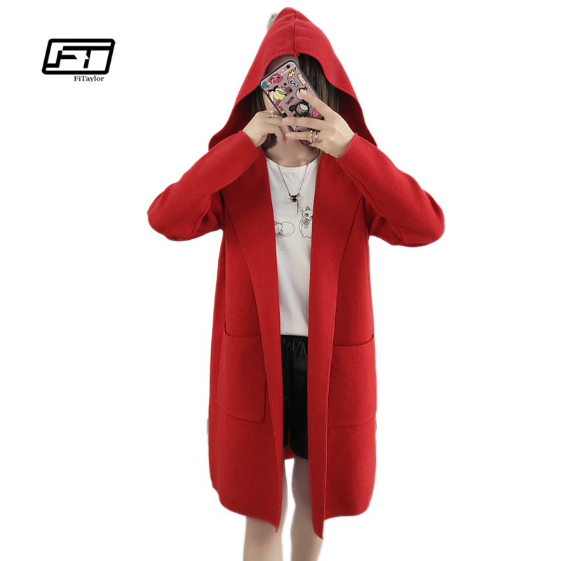 Fitaylor 2018 New Spring Autumn Women Knitted Cardigans   Trench   Coat Medium Long Hooded Outwear