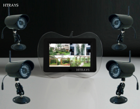 HTRAYS Digital 2.4Ghz Wireless 7 LCD QUAD DVR/Baby Monitor,4 Channels Recording/Motion Detection function 4cameras+1monitor