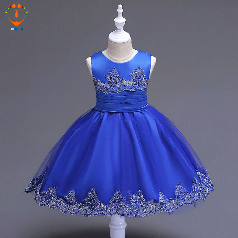 new  party dress  Girls  sleeveless  Princess  red blue  wedding lace Dress Summer Baby girl bow  Lace Dresses new full dress girls sleeveless princess white pink party dress summer baby girl bow lace dresses 3 8old 1