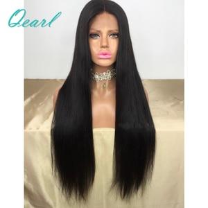 """Image 2 - Супер длинные 24 """"26"""" 28 """"полностью кружевные человеческие волосы, искусственные волосы, шелковистые, прямые, бразильские волосы Remy, предварительно выщипанные, средней части, с волосами ребенка Qearl"""