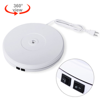 White 25cm LED Photo 360 Degree Electric Rotating Turntable Rotating Display Stand for Photography Jewelry Watch Digital Product