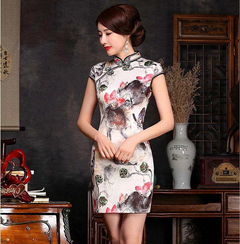 Hot Sale New Women's Satin Mini Cheongsam Fashion China Style Lady Elegant Slim Qipao Dress Size S M L XL XXL C27490