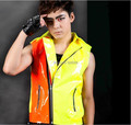 New style Fashion men's  personalized neon color block motorcycle vest costumes Nightclub singer dancer performance outwear