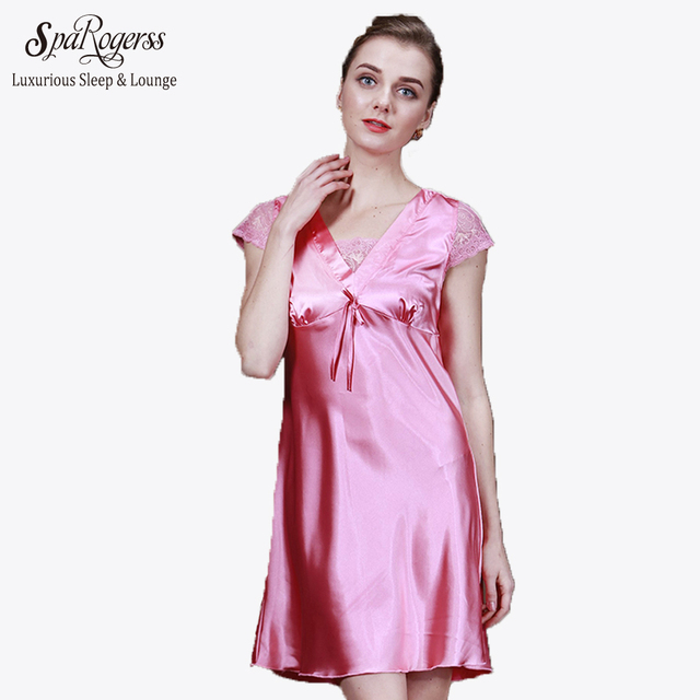 2017 Top Fasion Summer Promotion Silk Women Sleepwear Solid Color Short  Sleeve Lace Nightgown For Women SQ008 2014e8df8ec3