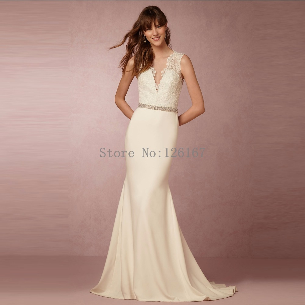 Buy new arrival simple satin v neck for Where to buy yasmine yeya wedding dresses