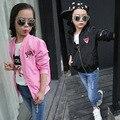 Spring Girls Leisure Tiger Embroidered Fashion Kids Jacket Clothing Black Pink Cotton