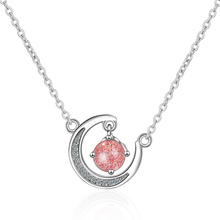 Everoyal Top Quality Silver 925 Women Choker Necklace Jewelry Female Fashion Zircon Pink Moon Pendant Necklace For Girls Bijou цена