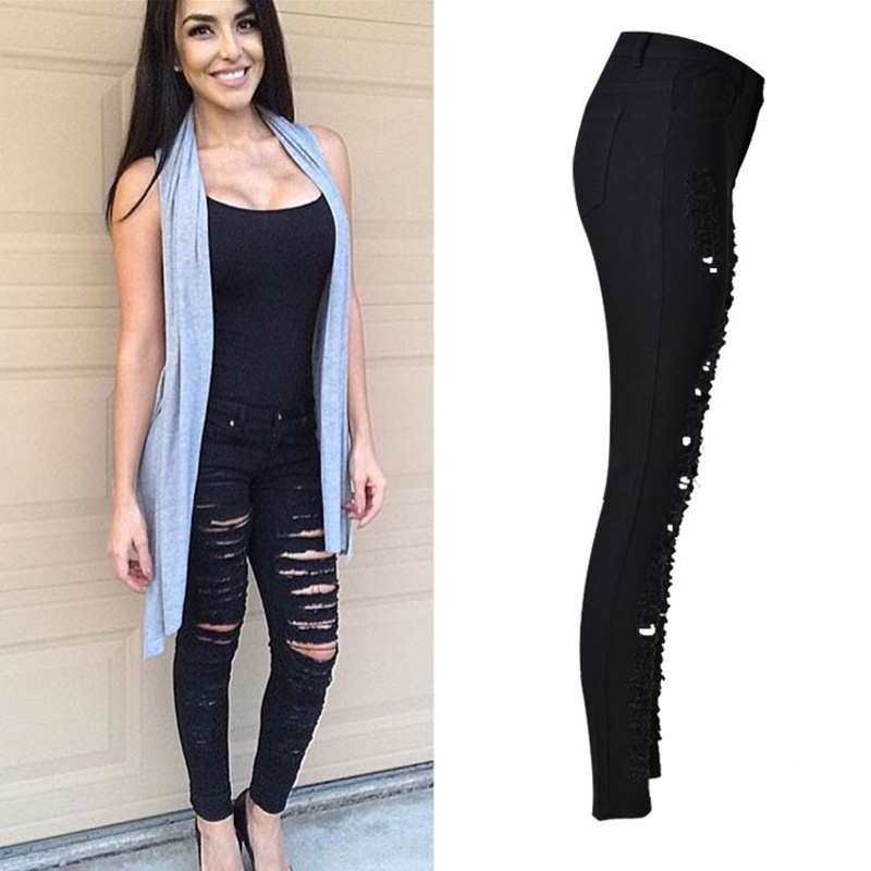 High Waisted Sexy Black Ripped Jeans For Women Casual Skinny Push Up Jeans 2017 Denim Hole Pants Big Size jeans feminino ZIH018 women jeans autumn new fashion high waisted boyfriend street style roll up bottom casual denim long pants sp2096