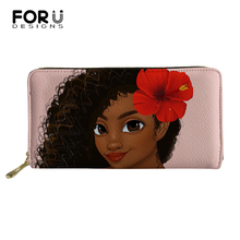 FORUDESIGNS Casual PU Leather Fashion Long Wallets African Girls Print Pattern Travel Passport Pocket Change Coin Purses Holders