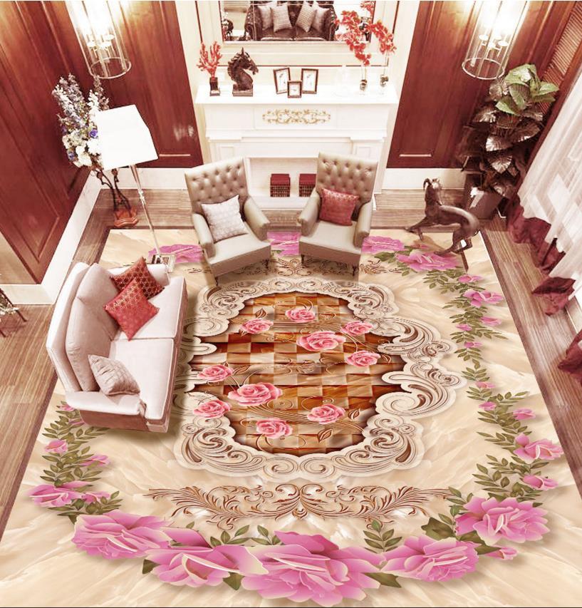 ФОТО Modern fashion 3d floor rose marble custom wonderful pattern for 3d flooring waterproof self-adhesive plastic floor