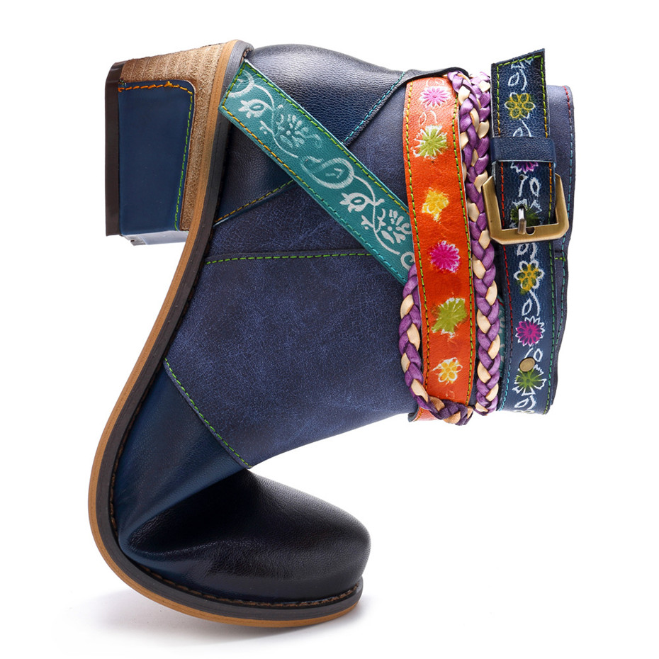 Vintage Bohemian Women Ankle Boots Shoes Side Zip Med Heels Ladies Shoes  Booties Genuine Leather Short Boots Shoe Woman (14)