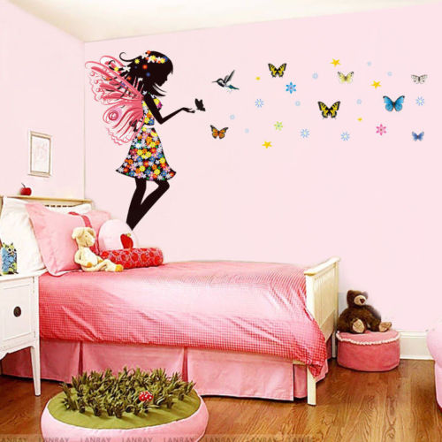 Buy fairy girl colorful butterflies wall for Butterfly wall mural stickers