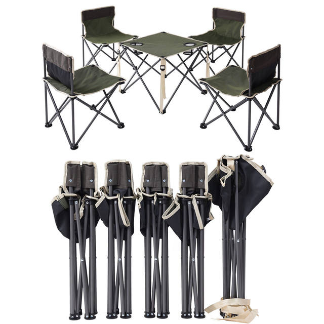 Giantex Portable Outdoor Folding Table Chairs Set Camping Beach Picnic Table  with Carrying Bag Outdoor Furniture Set OP3381GN - Online Shop Giantex Portable Outdoor Folding Table Chairs Set