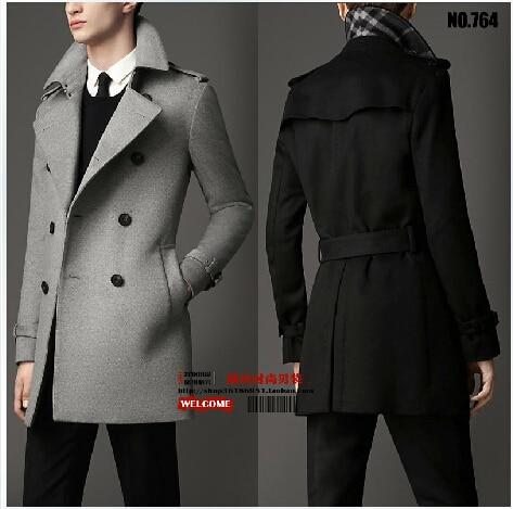 New winter coat European men Korea cashmere wool coat long paragraph Slim Double-breasted long coat jackets Overcoat /S-6XL