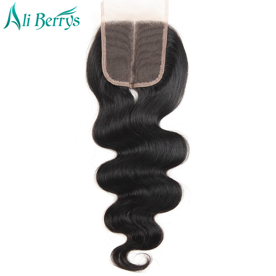 Ali Berrys Hair 1 Piece Middle Part Closure Remy Brazilian Body Wave Lace Closure 120% Density Hand Tied Free Shipping