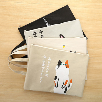 1pcs Cute Cat A4 Portable File Holder PU File Portable File Bag Zipper Storage Bag Kawaii Pencil Bag