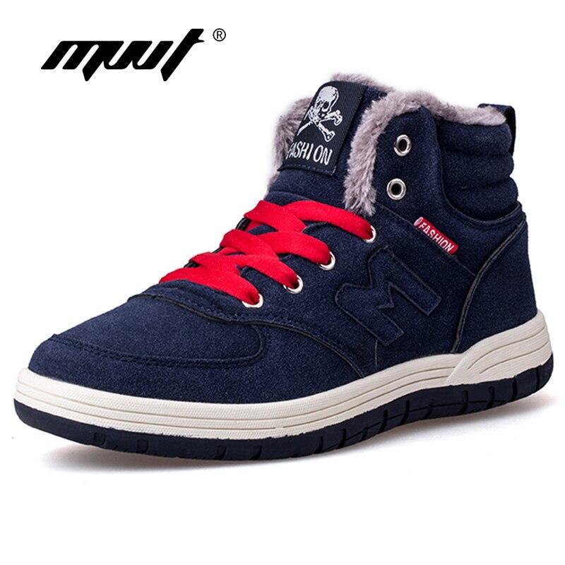 MVVT Super Warm Winter Men Boots Snow Boots With Fur Keep Warm Platform Men Winter Snow Shoes Waterproof Ankle boots platform bowkont flocking snow boots