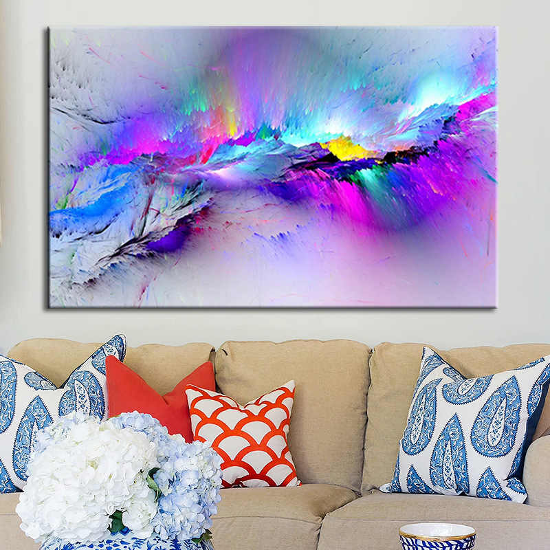 Wall Art Pictures For Living Room Abstract Oil Painting Clouds Colorful Canvas Home Decor No Frame 359