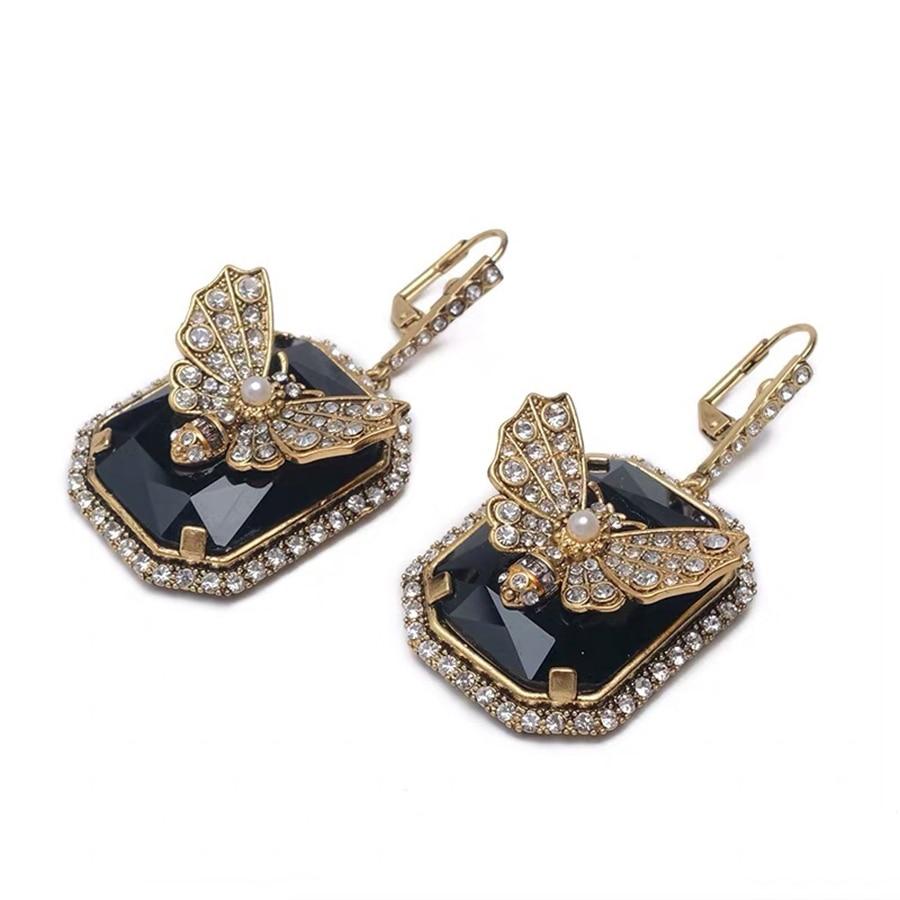High Fashion Vintage Gold Color Luxury Brand Modern Bee Dangle Earring Fancy Tassel Zircon Earring For Women Statement Jewelry