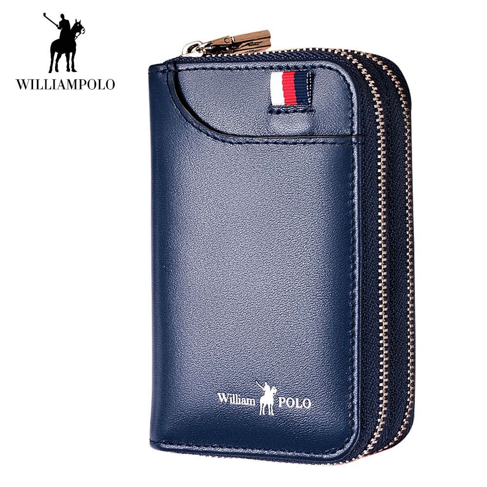 WilliamPOLO Men Wallet Car Key Case Key Holder Genuine Leather Double Zipper Credit Card Holder Organizer Multi Card Purse 2018